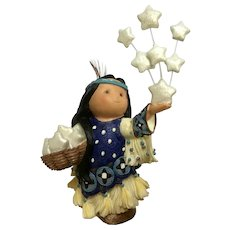 Indian Girl Figurine Karen Hahn with Basket of Stars Enesco Indian Friends of a Feather Rare