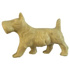 Scottie Dog Celluloid Figurine Early Plastic Germany Scotch Terrier Solid Not Hollow