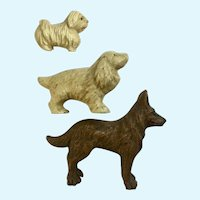 Dogs Lineol Elastolin Figurines Putz Germany Vintage Composition  Circa 1930's