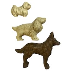 Three Dogs Lineol Elastolin Figurines Putz Germany Vintage Composition German Shepherd Lhasa Apso and Cocker Spaniel 1920's-1940's