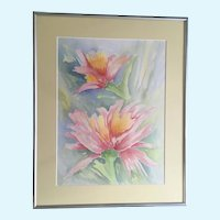 Susan Douglass Moody, Pink and Yellow Flowers Watercolor Painting Signed by Texas Artist