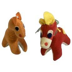 Vintage Giraffes Stuffed Plush Japan Mid-Century Animals Red and Orange