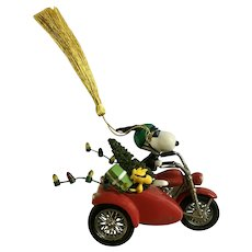 Snoopy and Woodstock Peanuts Motorcycle Sidecar Christmas Tree Ornament Hallmark Cards