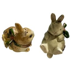 Fitz and Floyd Bunny Rabbit Salt and Pepper Shakers Woodland Spring FF Ceramic