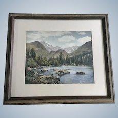 High Mountain Lake Hand Painted Enhanced Photo
