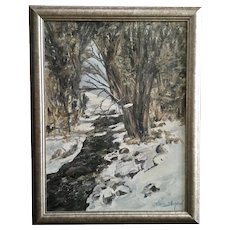 Clare Sheperd, Stream in Snow Covered Landscape Oil Painting Signed by Artist