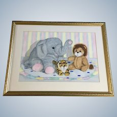 Gwen Williams, Elephant, Tiger and Lion Children's Bedroom Still Life Watercolor Painting
