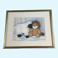 Gwen Williams, Lamb and Lion Children's Bedroom Still Life Watercolor Painting