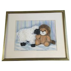 Gwen Williams, Lamb and Lion Children's Bedroom Still Life Watercolor Painting Signed by Artist