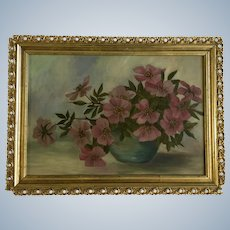 Pink Flowers in Blue Vase Floral Still Life Oil Painting 19th Century