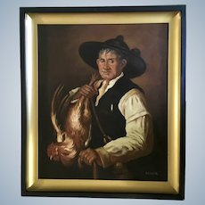 Ignacio Beller (1916-1984) Farmer with Chicken Figural Portrait Oil Painting Singed by Listed Spanish Artist