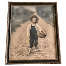Rudolf Eickemeyer, Jr. (1862-1932), The Whistling Boy with Apple Basket and Lunch Vintage Framed Photo Print 1901