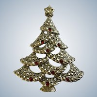 Christmas Tree Brooch Pin Silver-Tone and Red and White Rhinestones Avon