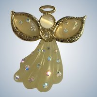 Christmas Angel Brooch Pin with Rhinestones