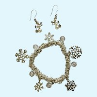 Christmas Silver-Tone Bracelet Snowflake Charms and Snowman Fishhook Earrings