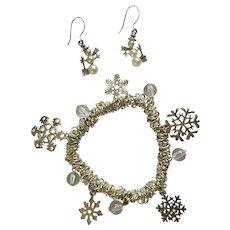 Christmas Silver-Tone Bracelet Snowflake Charms and Snowman Fishhook Earrings