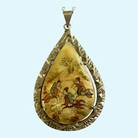 Hand Painted Mongolian Polo Teardrop Pendant on Silver-Tone Chain Necklace 21""