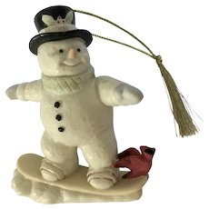 Lenox Snowman Snowboarding Christmas Ornament  Figurine 2011 Retired