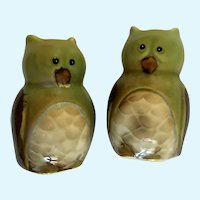 Owl Salt and Pepper Shakers Hand Painted Green Ceramic S&P Figurines