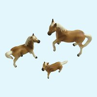 Bone China Miniatures Horses Light Brown Family Figurines Set
