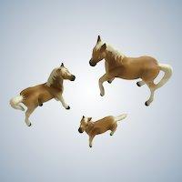 Bone China Miniatures Horses Light Brown Family Figurines Set