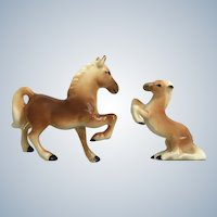 Bone China Miniatures Horses Playing Rearing Up Family Figurines Set