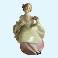 1920s Half Doll Ballerina Germany Dresser Trinket Powder Vanity Box Jar