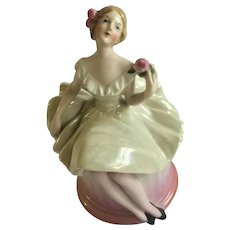 1920s Half Doll Ballerina Germany Dresser Trinket Powder Vanity Box Jar Lustreware Dress