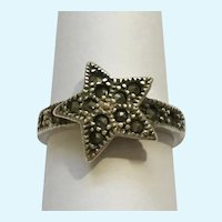 Marcasites Star Ring 925 Sterling  Silver Size 4-3/4 Gorgeous