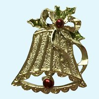 Christmas Bell Brooch Pin Gerry's
