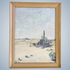 Frank Beer, Old Stone Homestead in Arizona Desert Oil Painting Signed by Artist