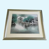 Chinese Fishing Boats on River Canal Watercolor Painting Signed and Monogrammed by Artist