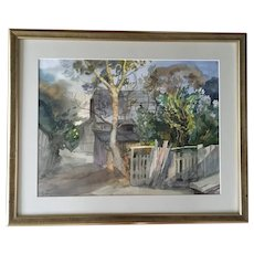 Old Barn Landscape Watercolor Painting Signed by Artist with illegible Signature