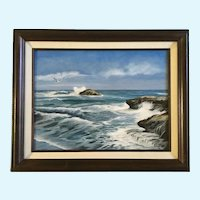 G Reed, Seascape Seagull Flying Over Waves on Shoreline Oil Painting Signed by Artist