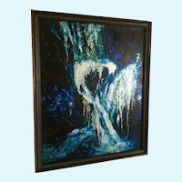 Betsy Shaw Willits, (1930 – 2013)  Metallic Ocean Storm Oil Painting Signed by Colorado Artist