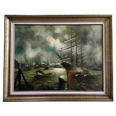 H. Lamers, Nautical Dutch Ship Oil Painting Signed by European Artist