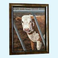 Linda Elliott, Heifer Cow Large Oil Painting Western Cattle Signed by Artist