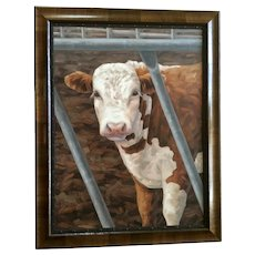 Linda Elliott, Heifer Cow Large Oil Painting Western Cattle Signed by Artist