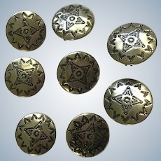 Southwestern Silver-tone Buttons or Button Covers Set of 8