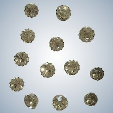 Rhinestone Buttons Clear Crystals with Silver-Tone Backing Two Sizes