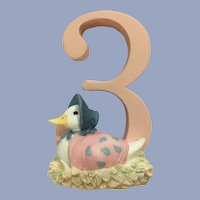 Enesco Jemima Puddle Duck Number 3 Birthday Cake Topper Figurine 2006 A6216