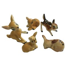 Bone China Miniatures Deer Fawn Family Figurine Group