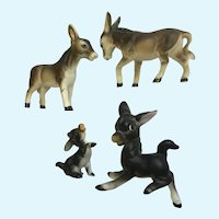 Bone China Miniatures Donkeys Animal Figurines Family Group of 4