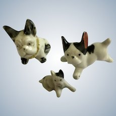 Early 20th Century Boston Terrier Dog Figurines Japan Group of 3