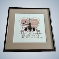 P. Buckley Moss Our Teacher Limited Edition Print Heart and Alphabet with Amish Children