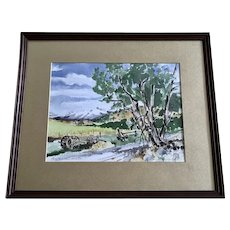 Eugene Lissa, Tree by Old Wagon Landscape Watercolor Painting Signed by Billings Montana Artist