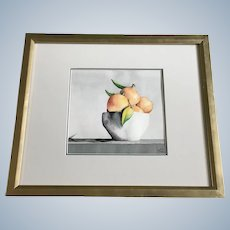 Lisa Gay, Tangerines in Bowl Still Life Watercolor Painting Signed by Artist