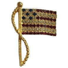 American Flag Patriotic Rhinestone Brooch Pin Patriotic Rafaelian Jewelry