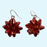 Red Bow Christmas Holiday Fishhook Earrings for Pierced Ears