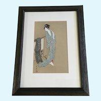 Toyohiro Japanese Woodcut Print Geisha Lady Portrait